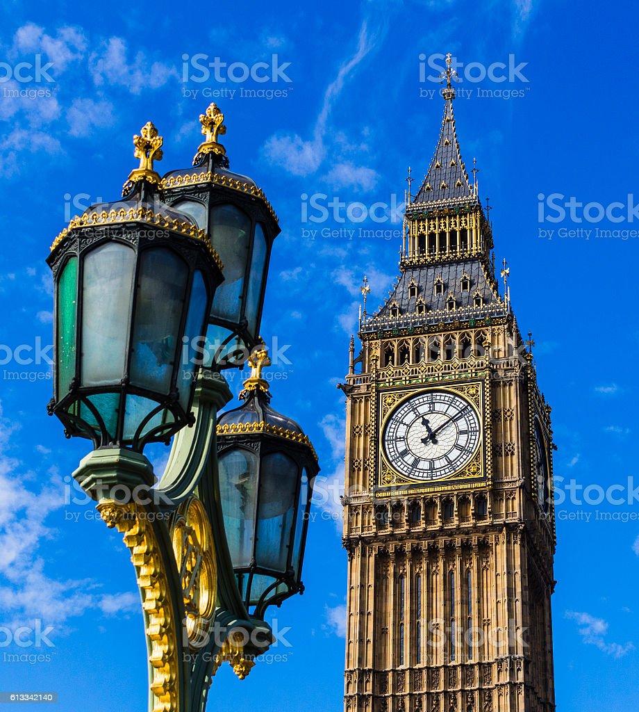 Big Ben and street light stock photo
