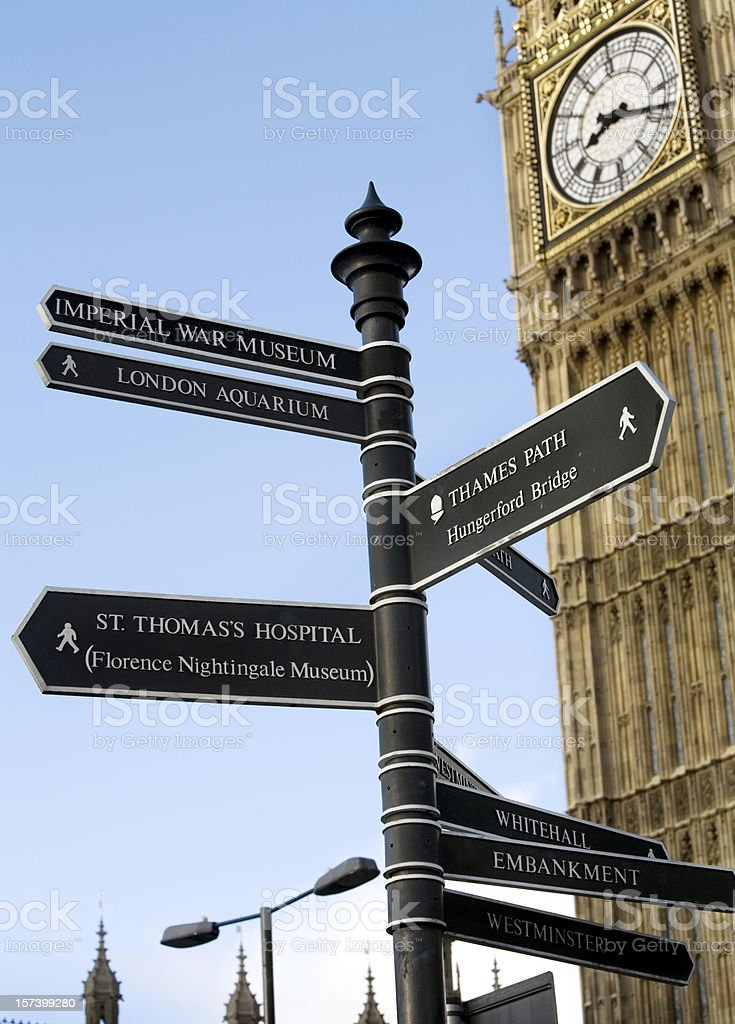 Big Ben and Street Signs London royalty-free stock photo