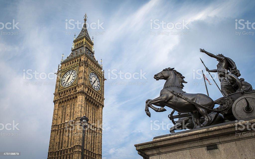 Big Ben and the Boadicea Statue stock photo