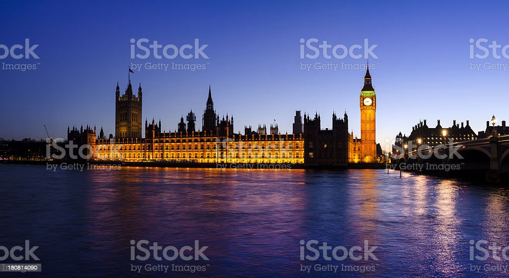 Big Ben and the Houses of Parliament at night, London royalty-free stock photo