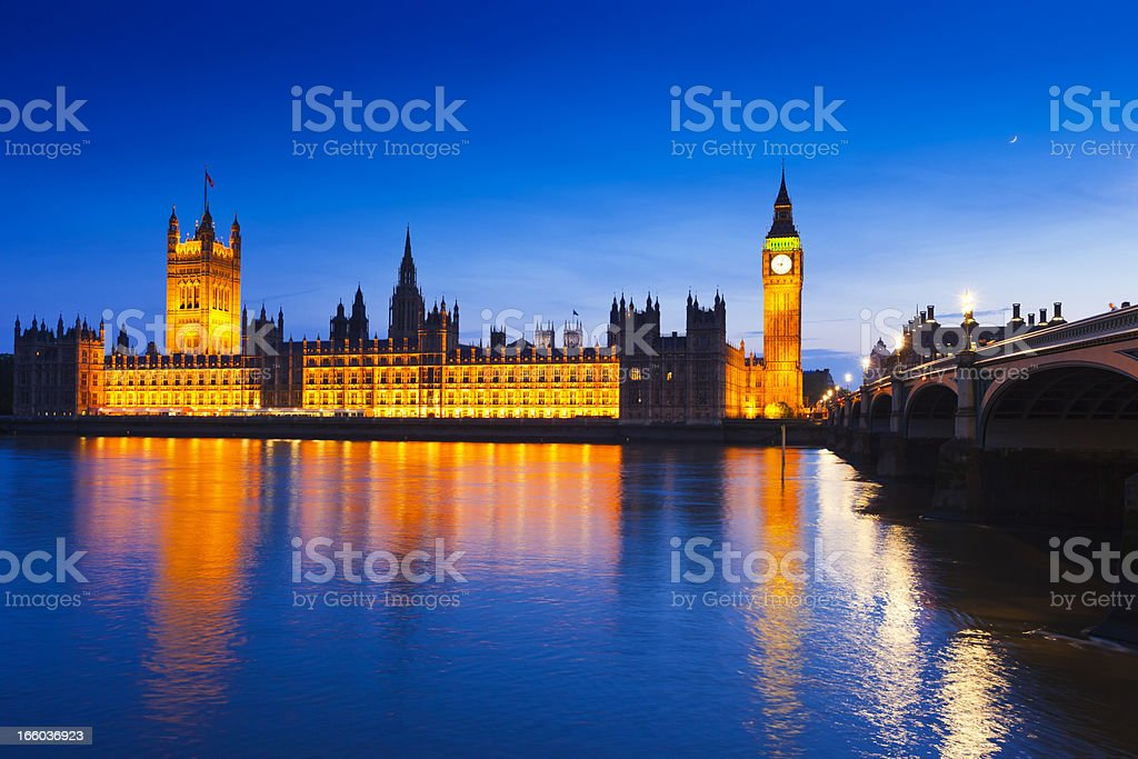 Big Ben and the Houses of Parliament in London royalty-free stock photo