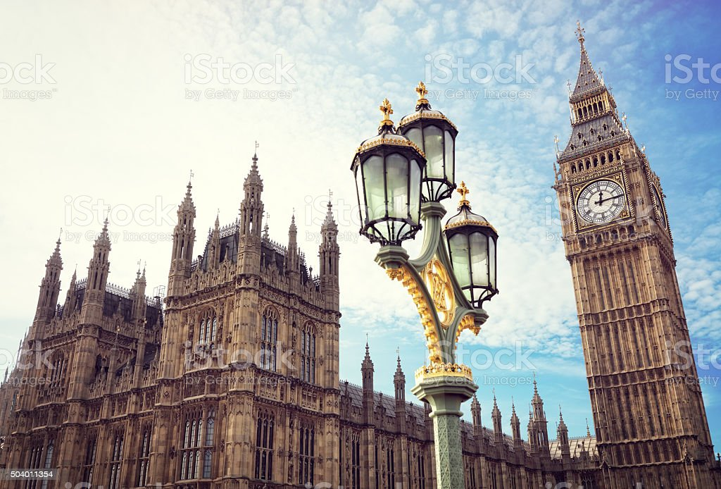 Big Ben and the houses of parliament in London stock photo