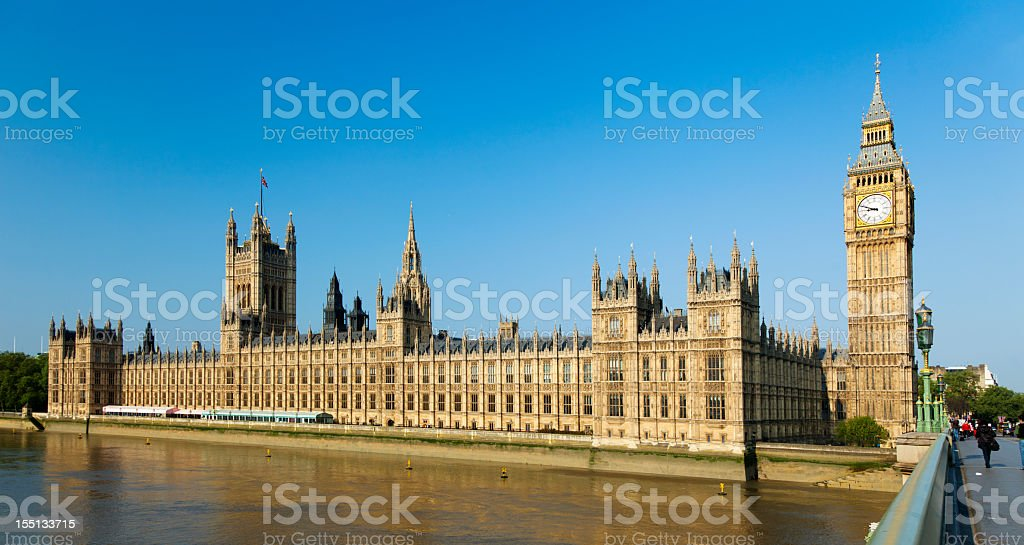 Big Ben and the Houses of Parliament on a clear day stock photo