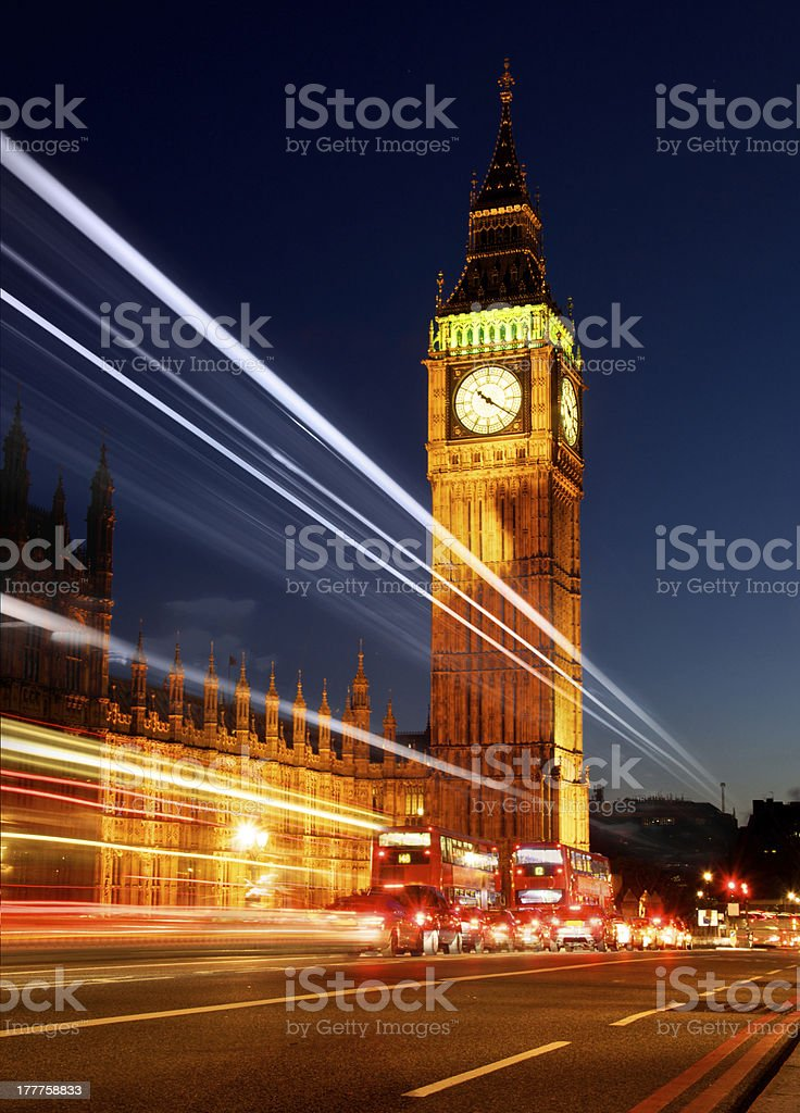 Big Ben and the Houses of Parliament with Light Trail royalty-free stock photo