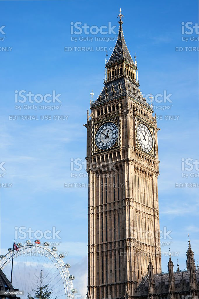 Big Ben and The London Eye, London, UK stock photo
