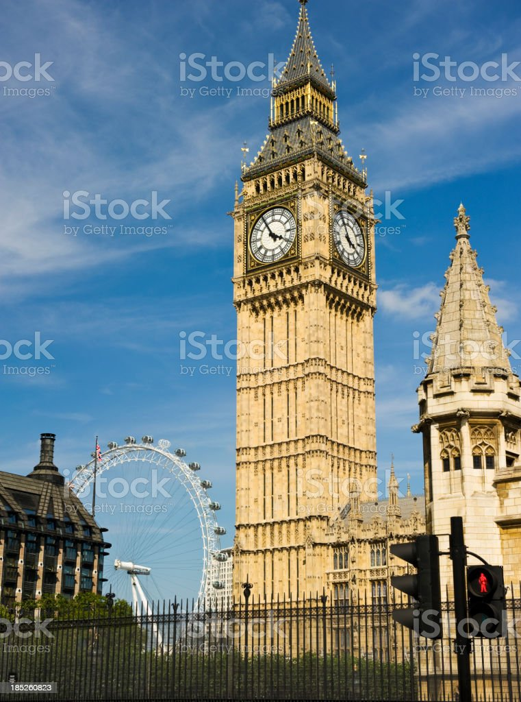 Big Ben and the London Eye royalty-free stock photo