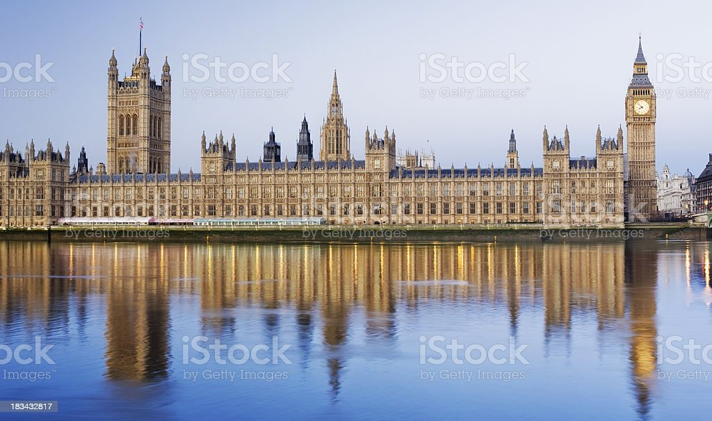 Big Ben and the Palace of Westminster in London stock photo