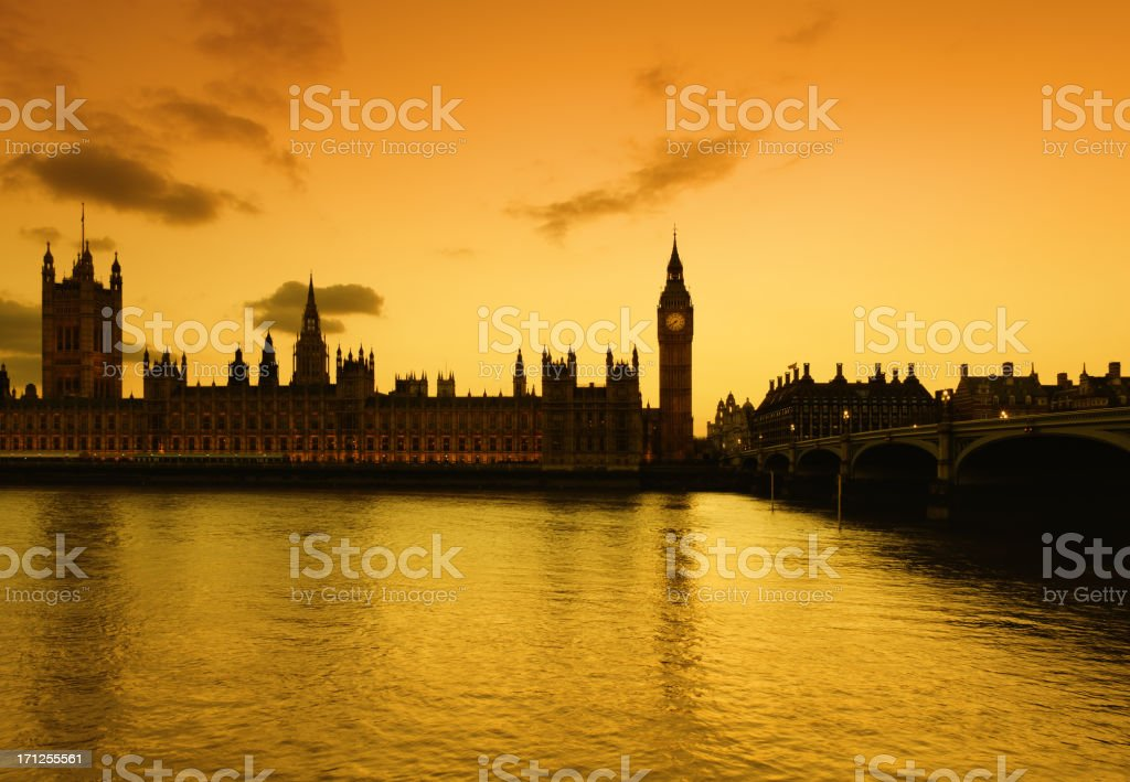 Big Ben and the Parliament in London at dusk royalty-free stock photo