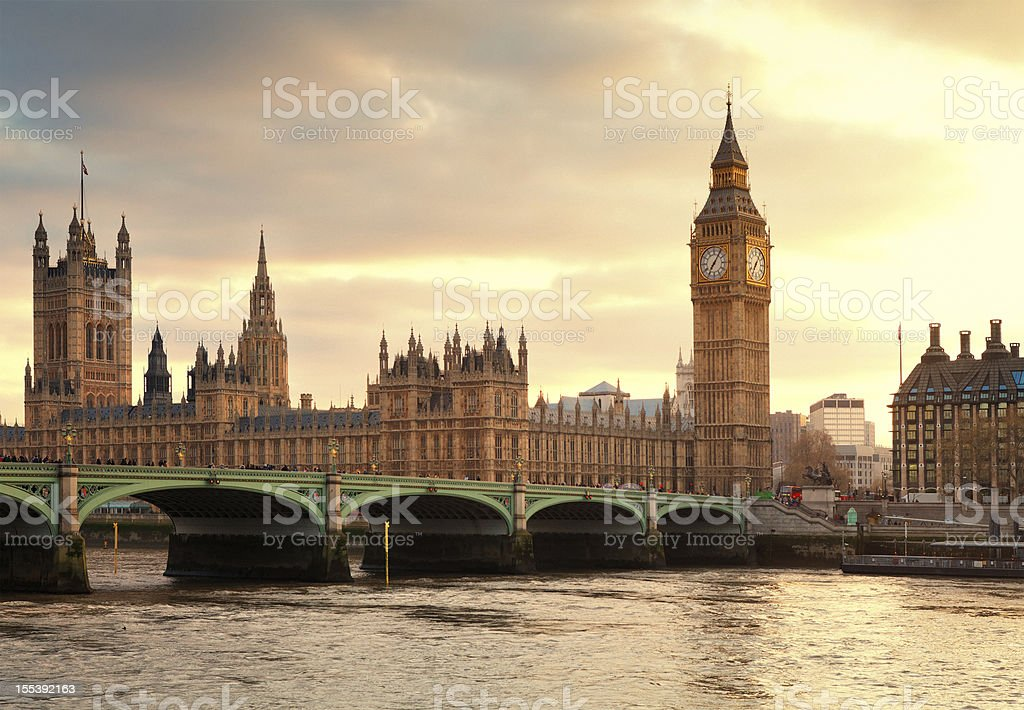 Big Ben and the Parliament in London at sunset stock photo