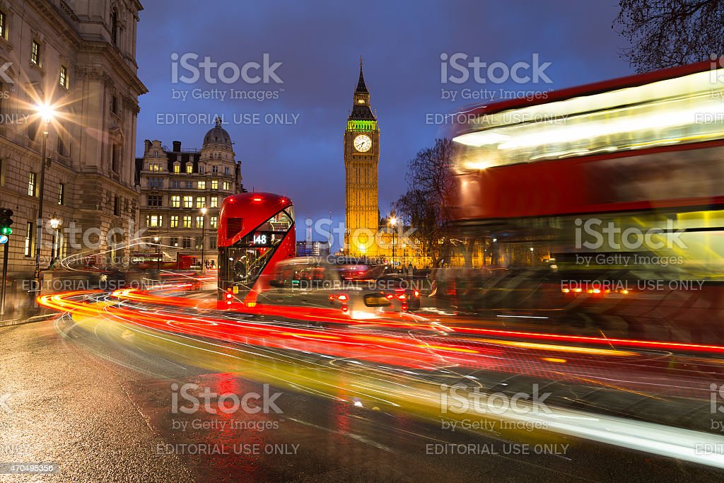 Big Ben and Traffic During Rush Hour stock photo