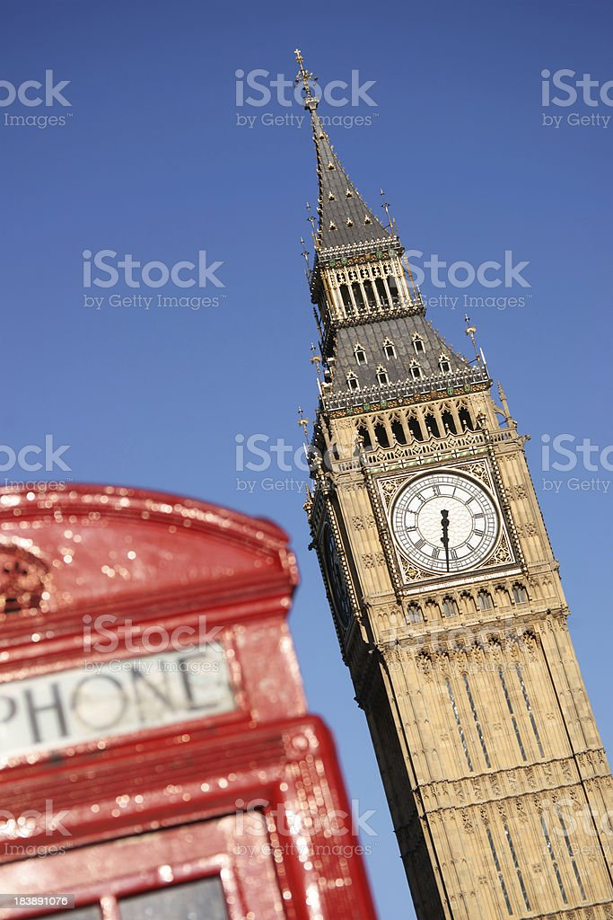 Big Ben and typical red telephone booth - diagonal royalty-free stock photo