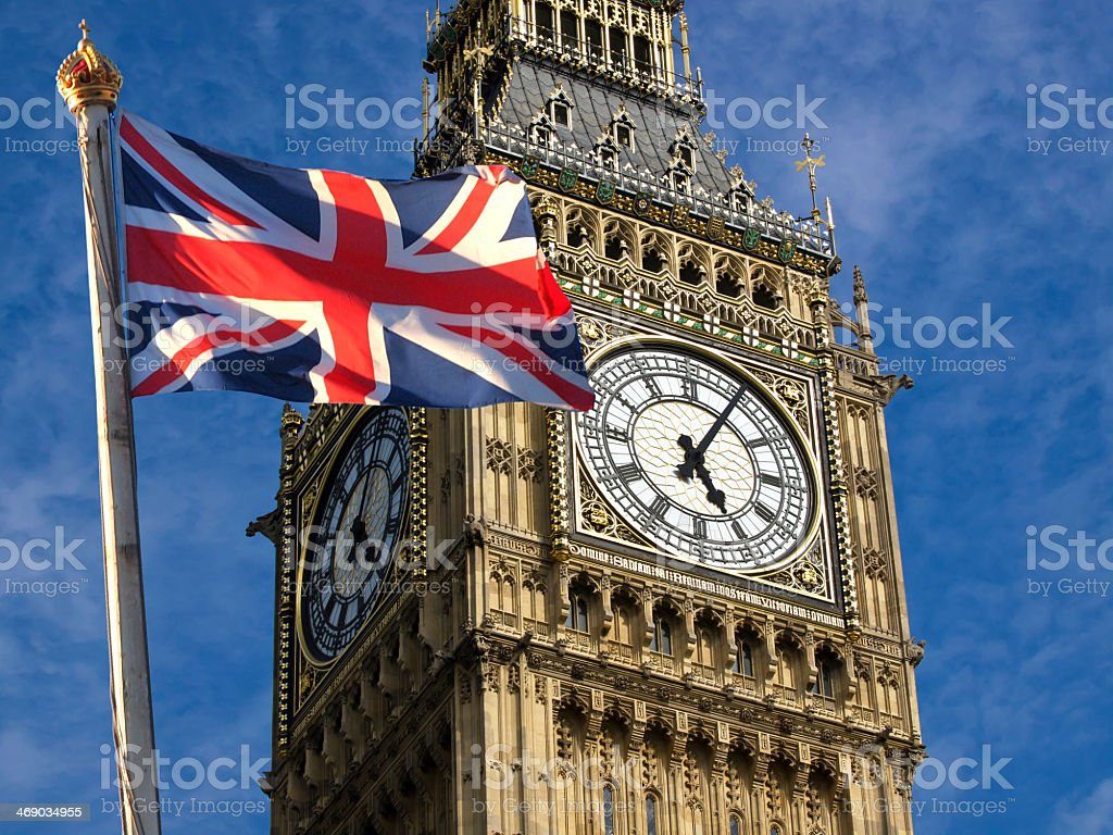 Big Ben and Union Jack flag in England stock photo