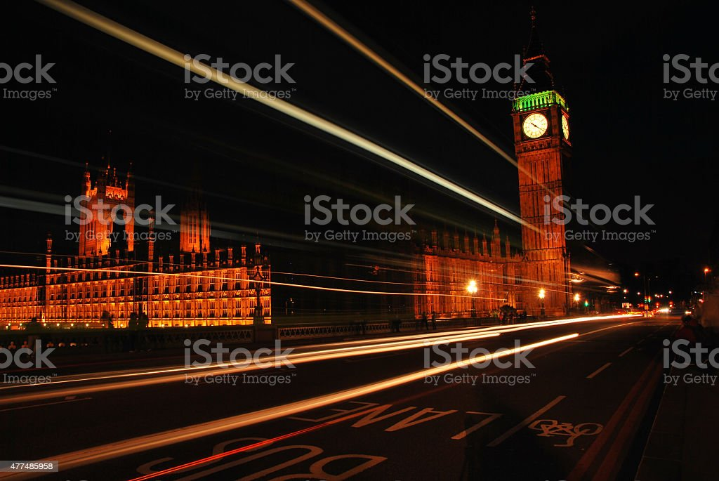 Big Ben and Westminster Abbey at night stock photo
