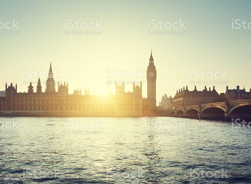 Big Ben and Westminster at sunset, London, UK stock photo