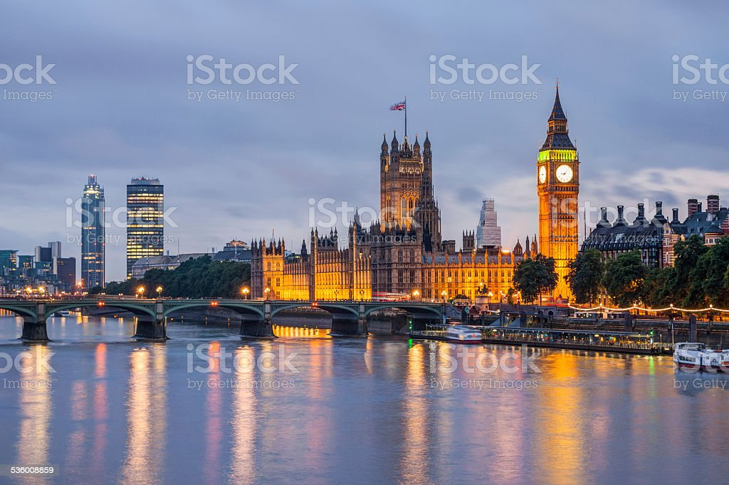 Big Ben and Westminster Bridge at dusk, London, UK stock photo