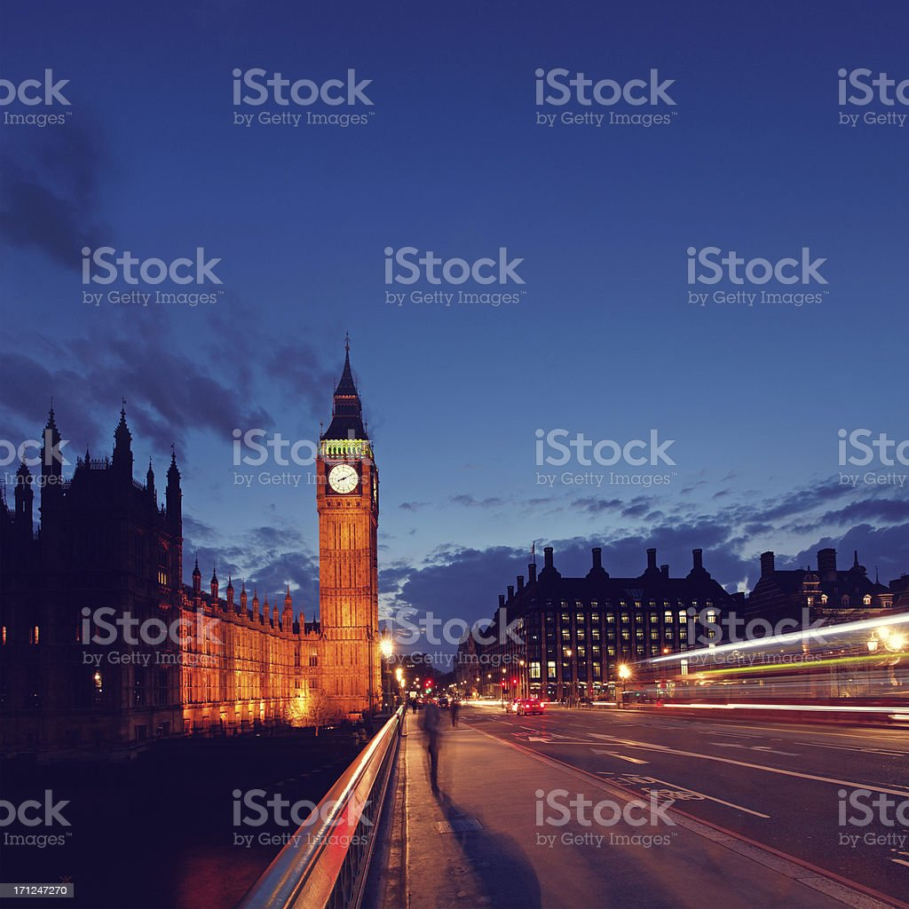 Big Ben and Westminster bridge at dusk royalty-free stock photo
