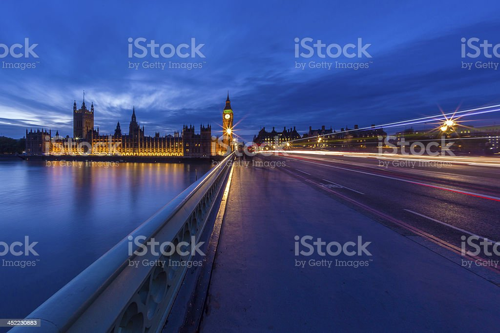 Big Ben and Westminster bridge at dusk stock photo