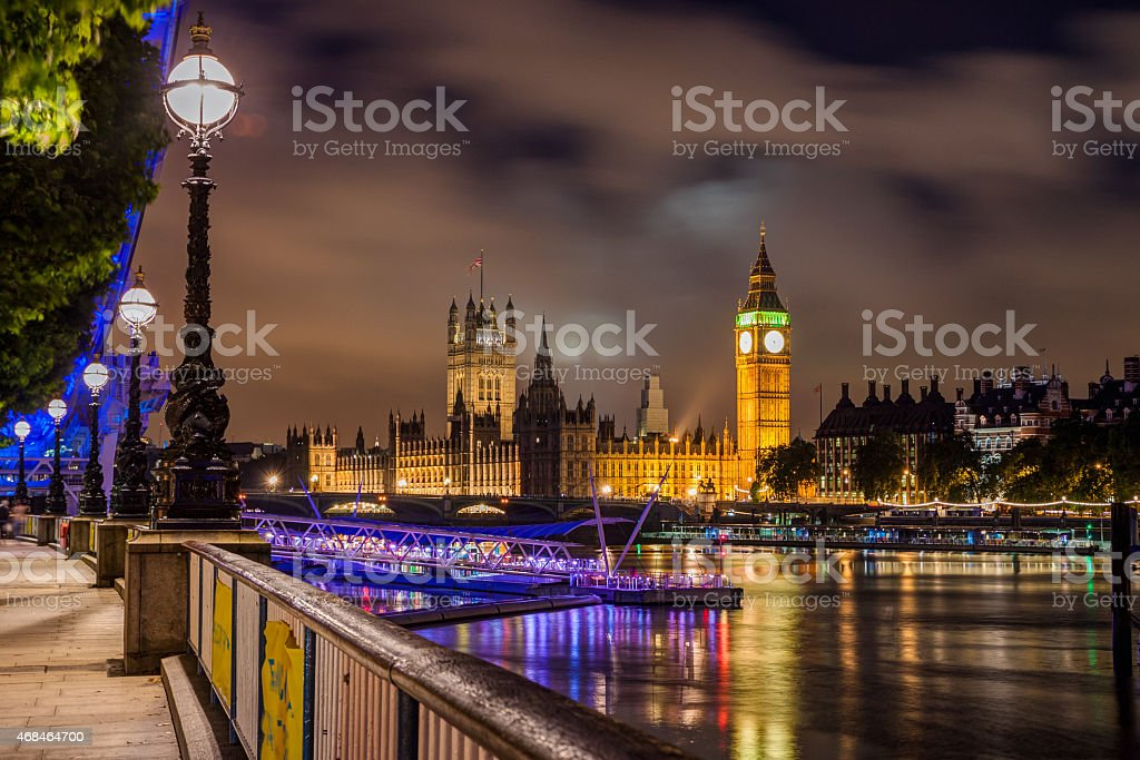 Big Ben and Westminster Bridge at night, London, UK stock photo