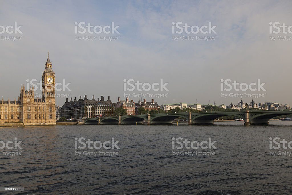 Big Ben and Westminster Bridge at sunset 01 royalty-free stock photo