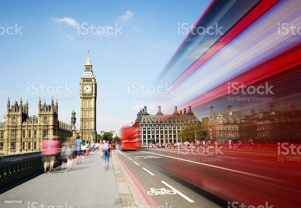 Big Ben and Westminster Bridge in London UK stock photo
