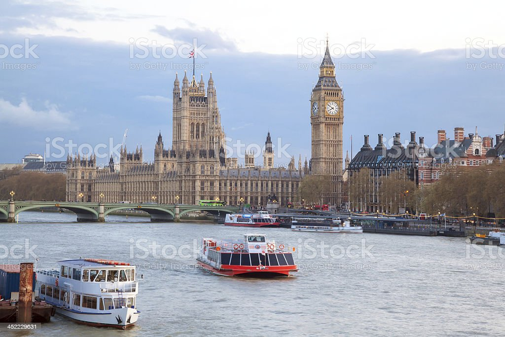 Big Ben and Westminster Bridge London royalty-free stock photo