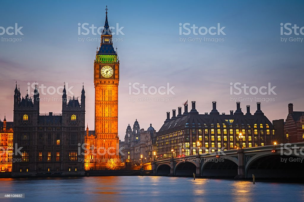 Big Ben and westminster bridge , London stock photo