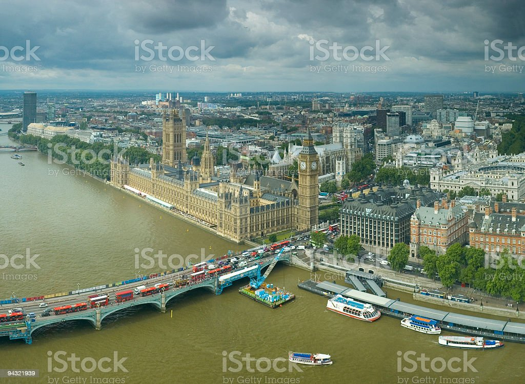 Big Ben and Westminster Bridge, London royalty-free stock photo