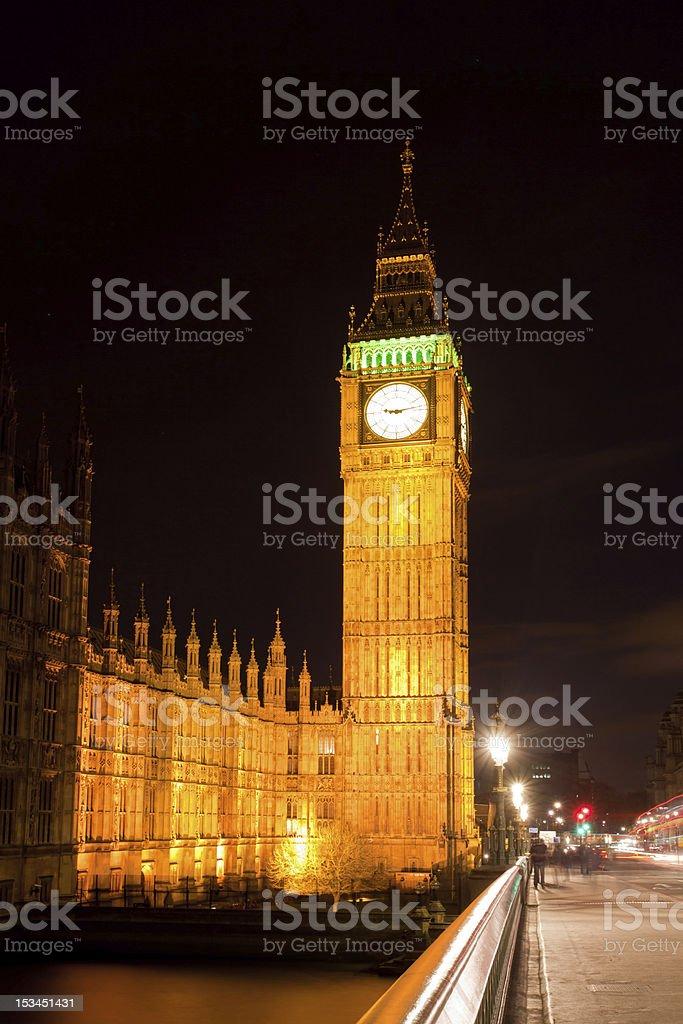 Big Ben and Westminster Bridge royalty-free stock photo