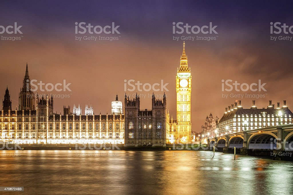 Big Ben and Westminster Night Long Exposure royalty-free stock photo