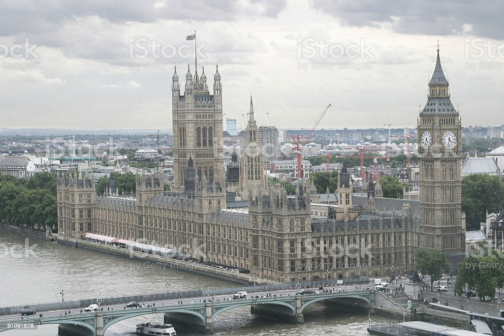 Big Ben and Westminster on the Thames royalty-free stock photo
