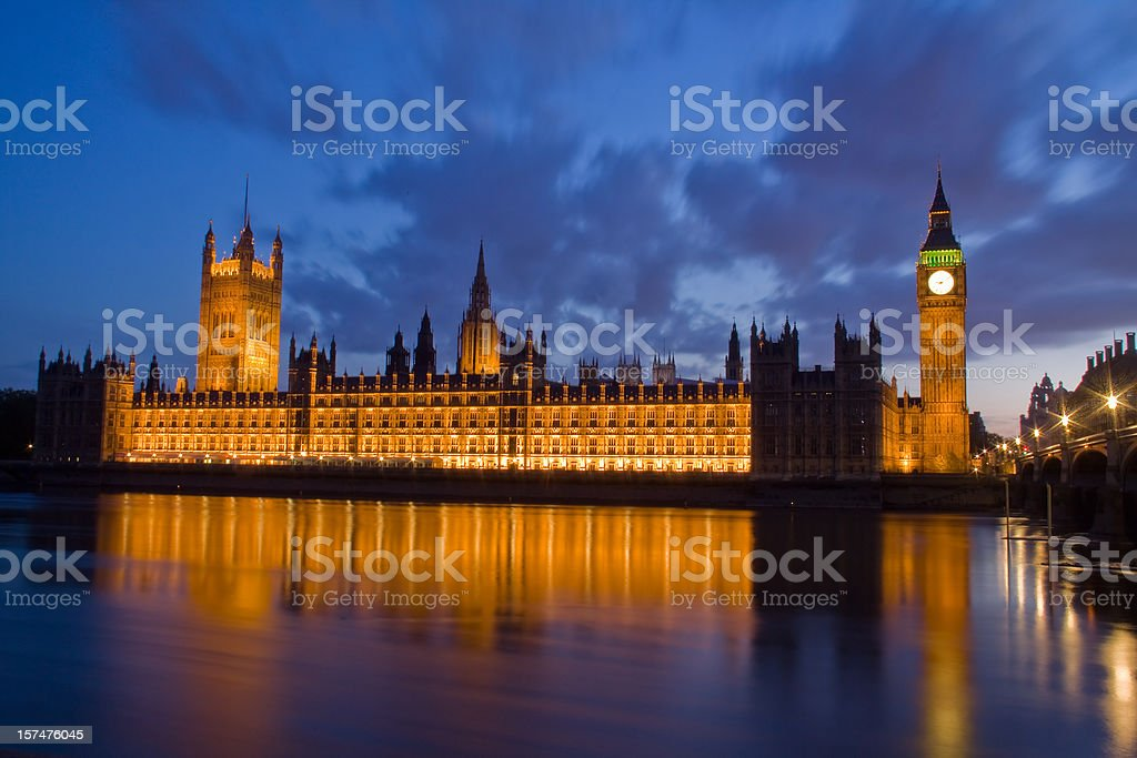Big Ben and Westminster palace at night royalty-free stock photo
