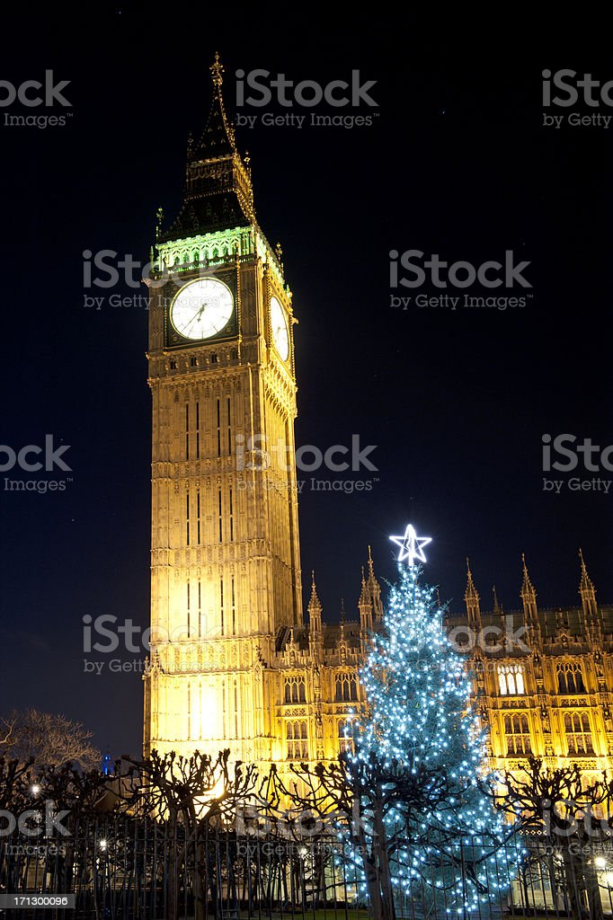 Big Ben and Westminster Palace in London x-mass night shoot royalty-free stock photo
