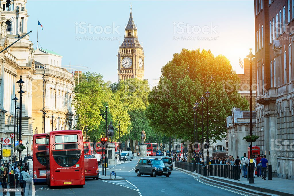 Big Ben and Whitehall from Trafalgar Square, London stock photo