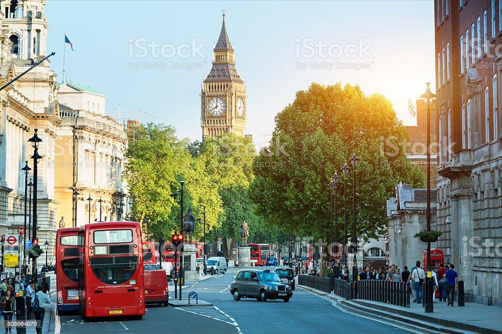 Big Ben and Whitehall from Trafalgar Square, London stock photo