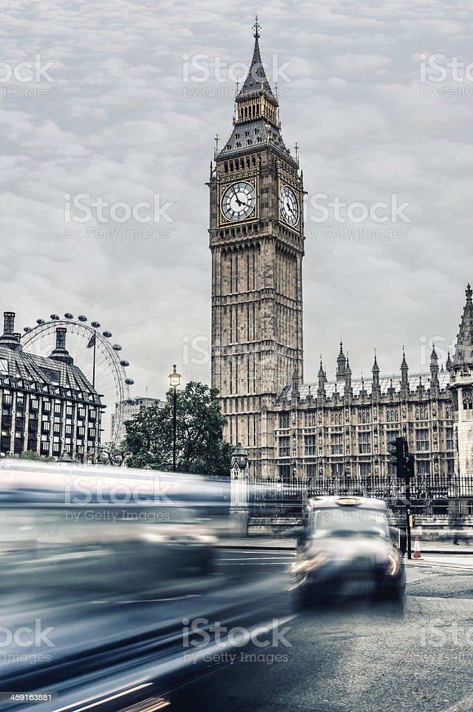 Big Ben at dusk with passing traffic - VIII royalty-free stock photo