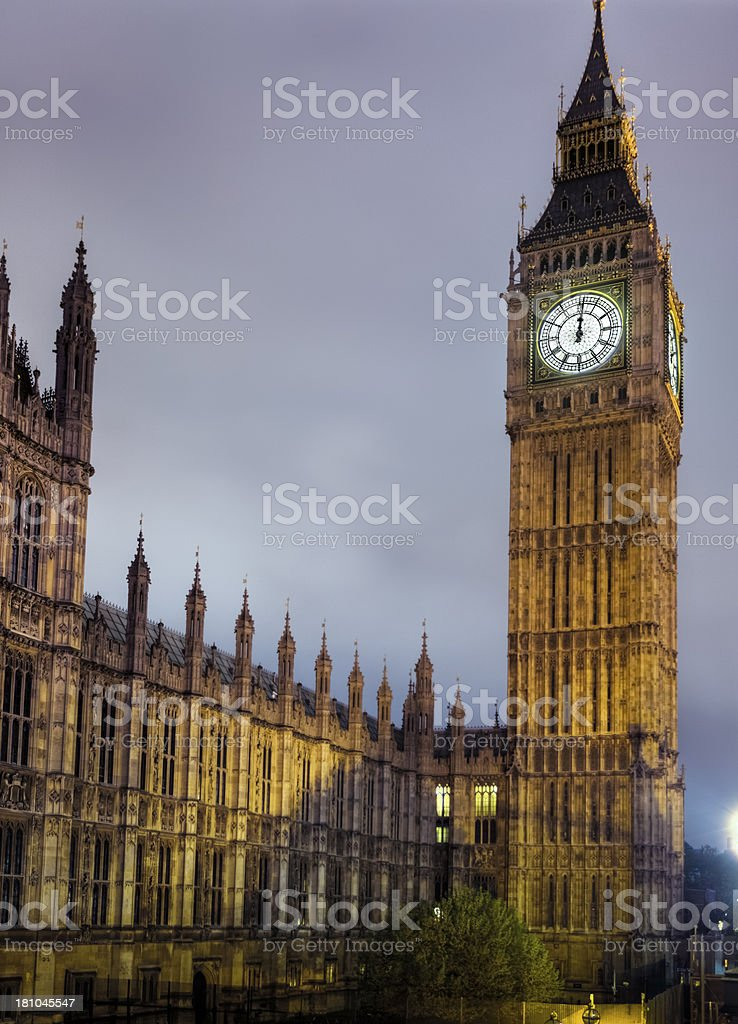 Big Ben at Midnight with Floodlights Turned Off at Midnight royalty-free stock photo