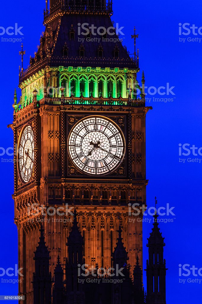 Big Ben at night close up, Westminster, London, UK stock photo