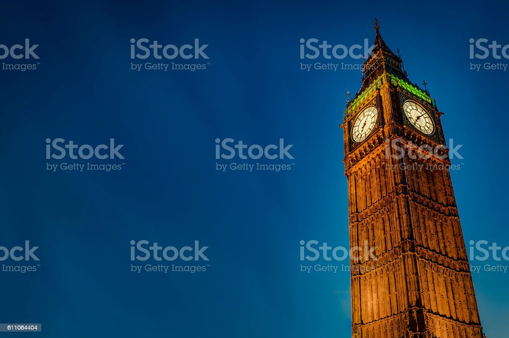 Big Ben at night with copyspace stock photo