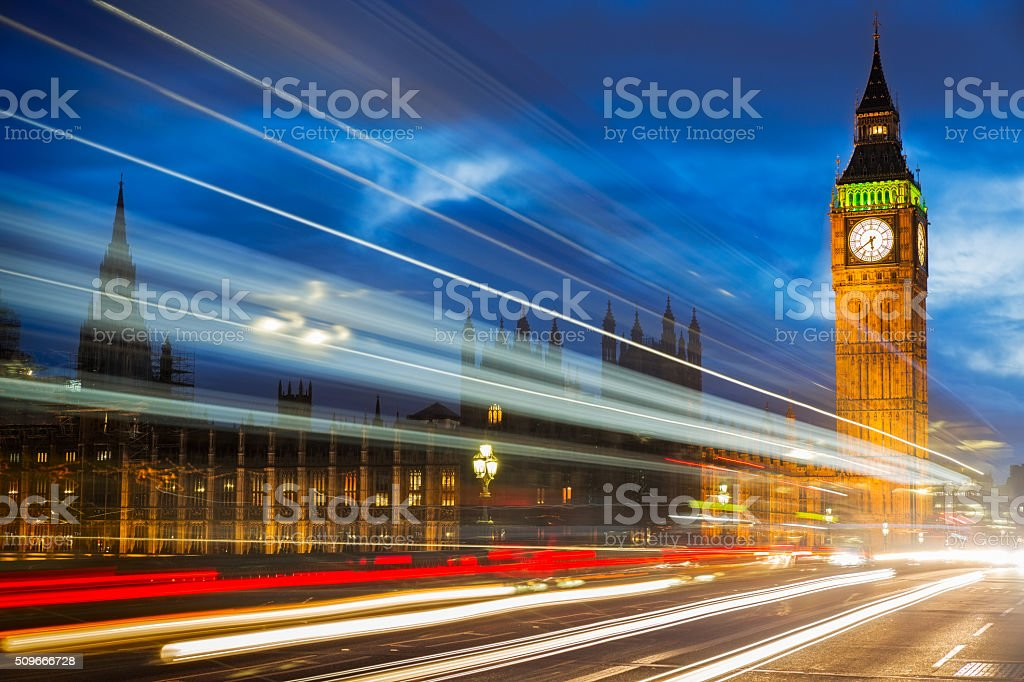 Big Ben at Westminster Bridge, London, UK stock photo