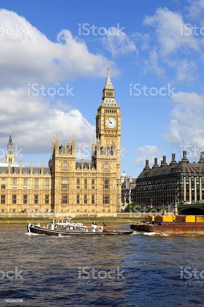 Big Ben & Barge royalty-free stock photo