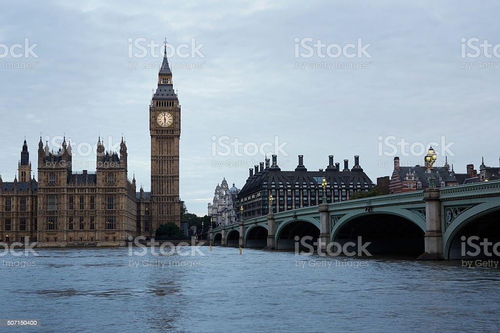 Big Ben, bridge and Thames in the early morning, London stock photo