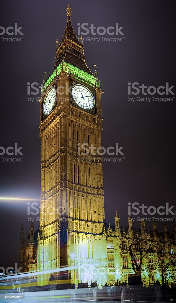 Big Ben Brilliantly Lit at Night royalty-free stock photo