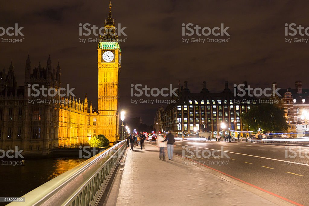 Big Ben by night, London stock photo