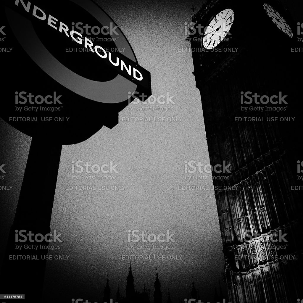 Big Ben Clock and London Underground station sign stock photo
