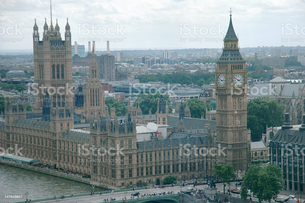 Big Ben clock and Palace of Westminster in London royalty-free stock photo