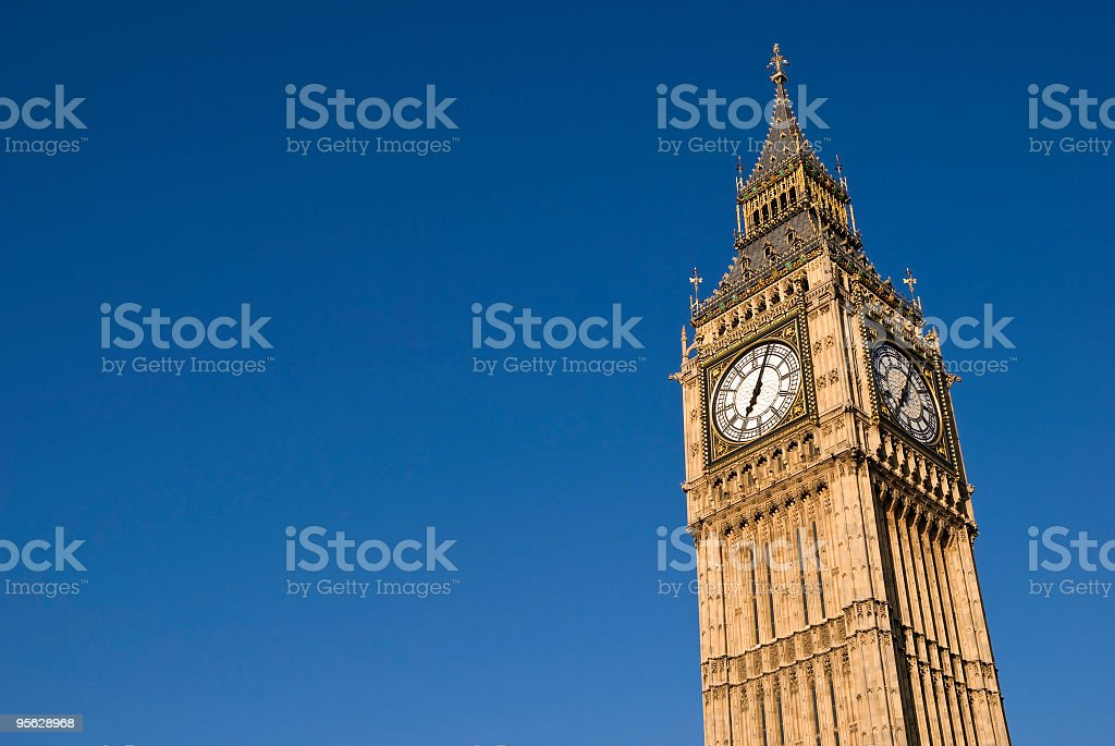 Big Ben clock in London against blue sky royalty-free stock photo