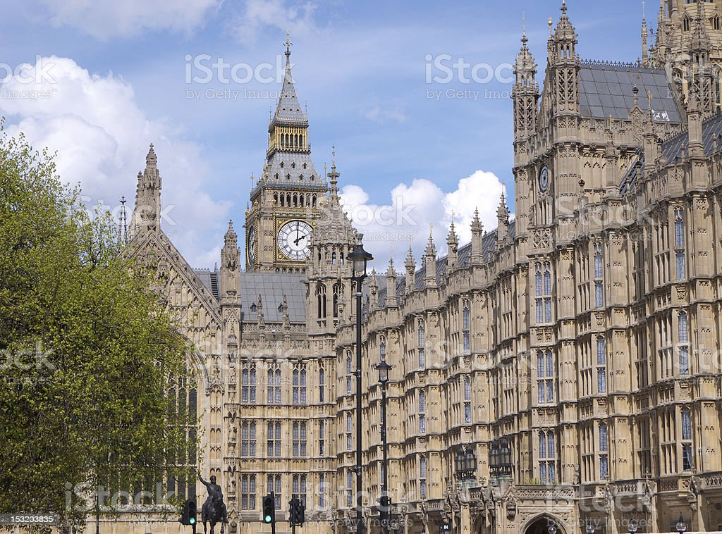 Big Ben clock tower and Houses of Parliament royalty-free stock photo