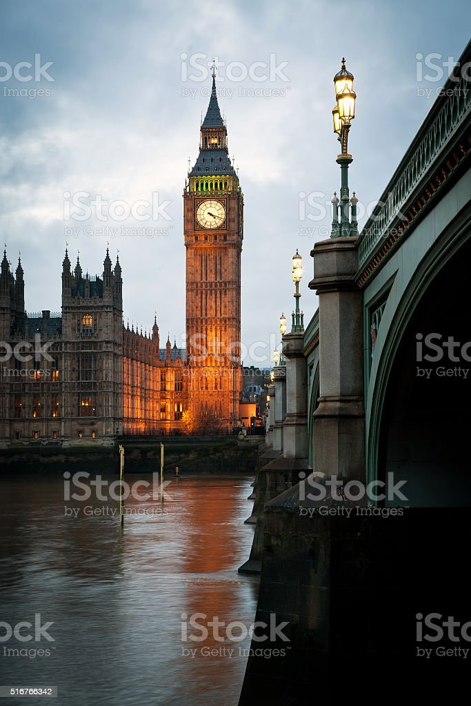Big Ben Clock Tower and Parliament house stock photo
