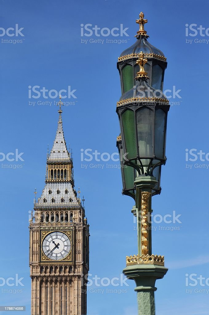 Big Ben - clock tower at the Houses of Parliament royalty-free stock photo