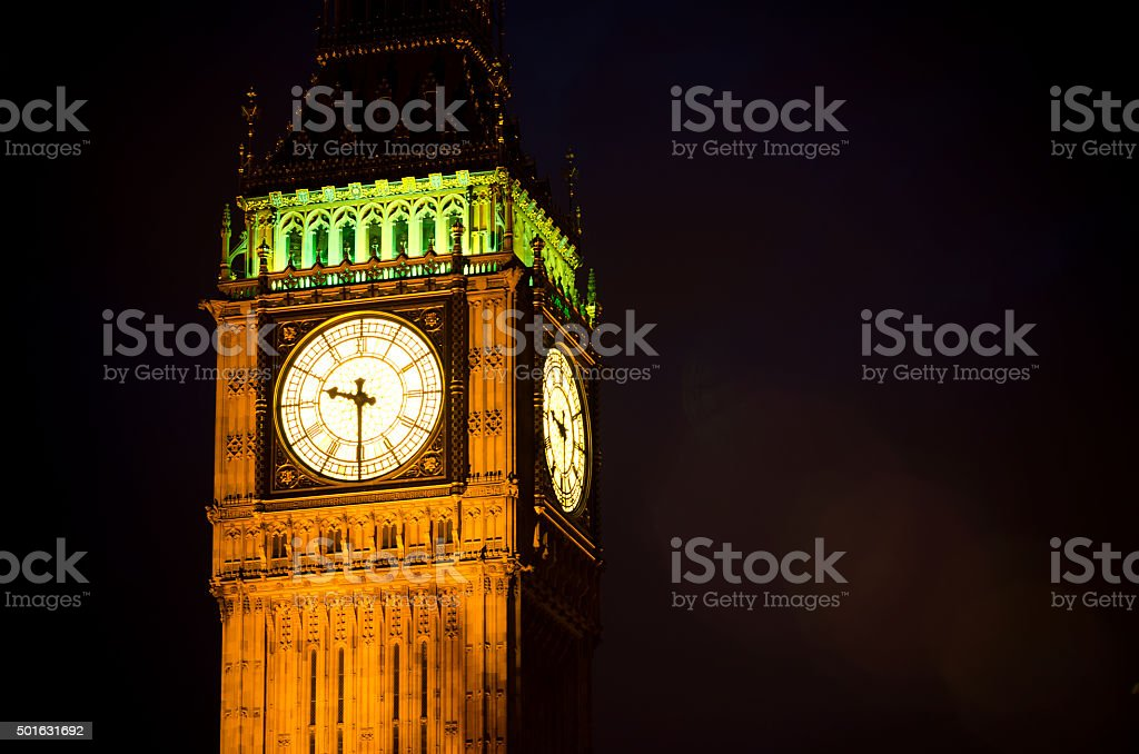 Big Ben Clock Tower in London, England at night stock photo
